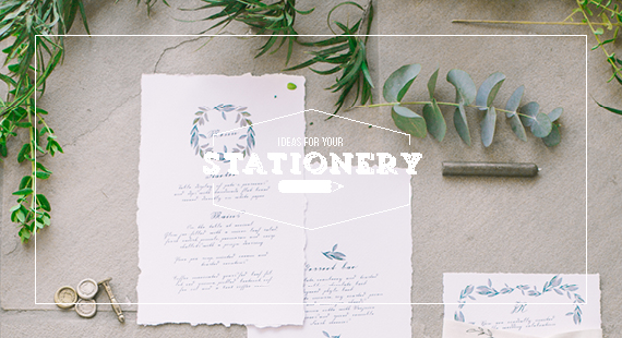 Chrystalace Wedding Stationery Green Inspiration stationery wreath watercolour calligraphy deckled edge stationery suite cover