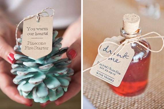"""<a href=""""http://somethingturquoise.com/2014/12/12/diy-pinecone-fire-starter-favors/"""" target=""""_blank"""">Pinecone Fire Starter</a>   <a href=""""https://za.pinterest.com/pin/481251910171498637/"""" target=""""_blank"""">Drink Me Gin</a>"""